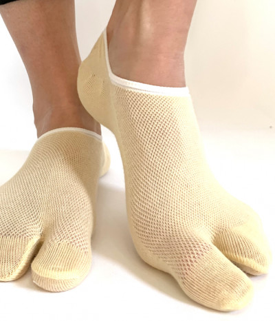 chaussettes invisible 2 doigts 6 paires beige