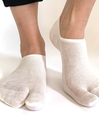 chaussettes invisible 2 doigts 6 paires blanc