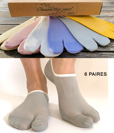 chaussettes invisible 2 doigts 6 paires
