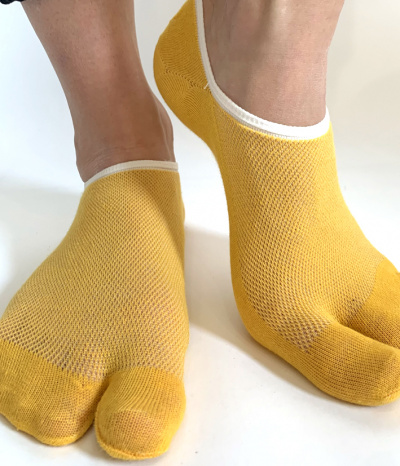 chaussettes invisible 2 doigts jaune moutarde